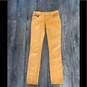 "TORY BURCH goldenrod ""IVY SUPER SKINNY"" jeans"